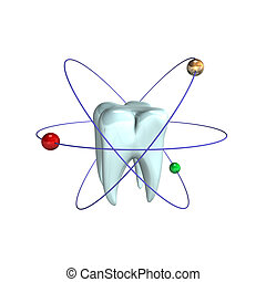 Atomic Tooth - 3d illustration looks the tooth in atomic...