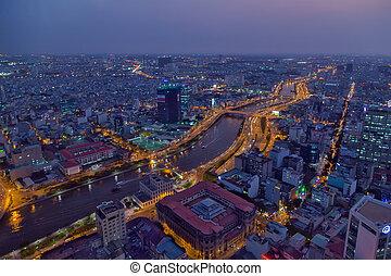 Saigon river night city - Ariel view Saigon downtown river...