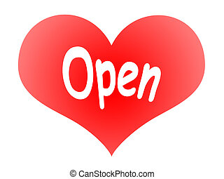 Open Heart - Red Tender Heart Symbol with OPEN inscription...