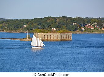 Fort Gorges, Portland Maine - Tall ship passing Fort Gorges...