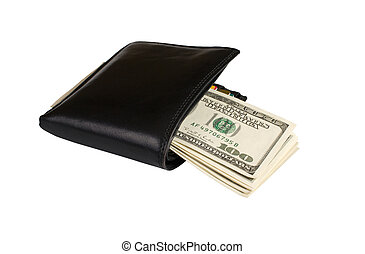 Wallet with money - Dollar bills enclosed in a black leather...