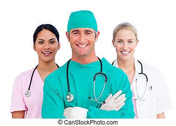 Retrato, médico, ambicioso, equipe