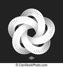 Star. Connection structure. Vector 3D illustration.