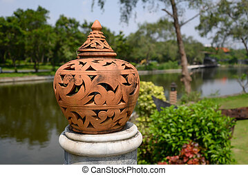 Pottery Lamp with Thai style