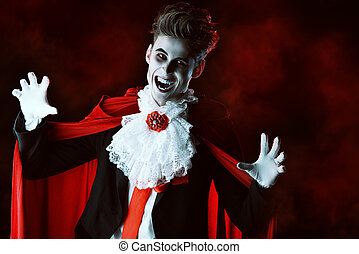 horror man - Handsome bloodthirsty vampire Halloween Dracula...