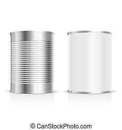 Metal tin set - Metal can on a white background Vector...