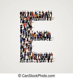 Large group of people in letter E form. Vector seamless...
