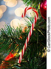 close up of sugar cane candy on christmas tree - holidays,...
