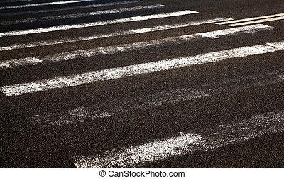 worn road markings - photographed old worn road markings...