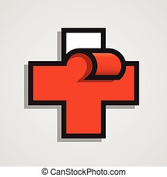Pharmacy abstract red cross. Clean vector