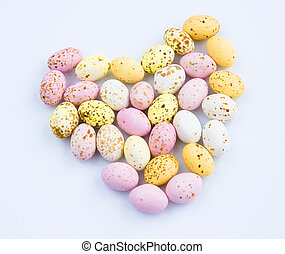 eastereggs - Miniature speckled chocolate Easter eggs in the...