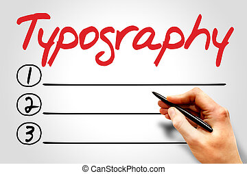 Typography blank list, business concept