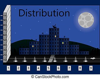 distribution in the form of houses of the city at night