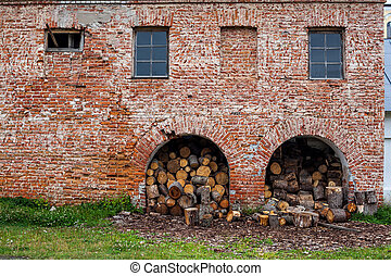 Firewood piled in a heap