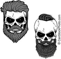 beard skull.eps - bearded skull. Sugar skull with beard. Day...