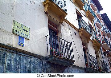 Way of Saint James in Pamplona Calle Mayor street Spain