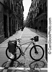 Way of Saint James in Pamplona Calle Mayor bike - Way of...