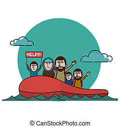 Syrian refugees on boat.  Civil war in Syria