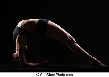 Dvi Pada Viparita Dandasana - Beautiful cool young fit woman...