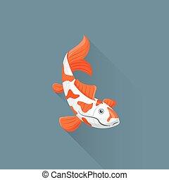 vector flat japanese koi fish illustration icon