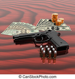 gun with bullets - gun, dollars,coins and bullets on the...