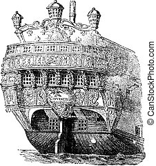 Stern of a warship, vintage engraving. - Stern of a warship,...
