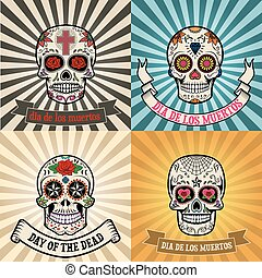 Print - Frames with sugar skull on background. Day of the...