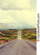 Road in Alaska - highway on Alaska