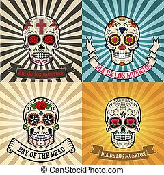 dia de los muertos - Frames with sugar skull on background....