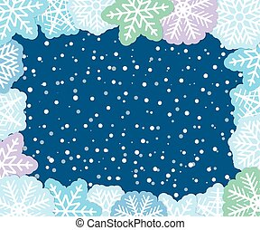 Christmas background with paper flakes