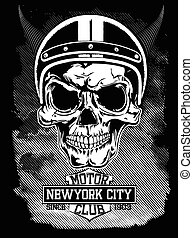 Vintage motorcycle New York typography, t-shirt graphics,...