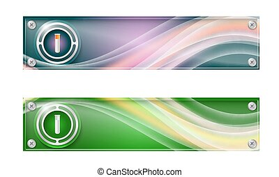 Set of two banners with colored rainbow and test tube