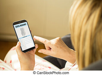 Technology woman dental insurance - modern assurance...