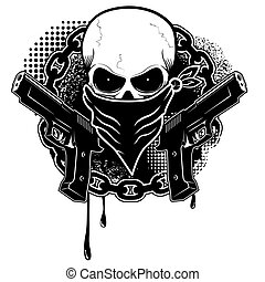 skull and two pistols with grunge background.Design element...