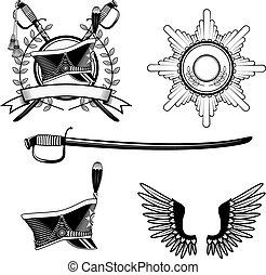 gusar - Shako Hussar, roundels, scimitar. Set of items for...