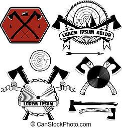lesorub - Harvester, emblems for lumberjack axes, circular...