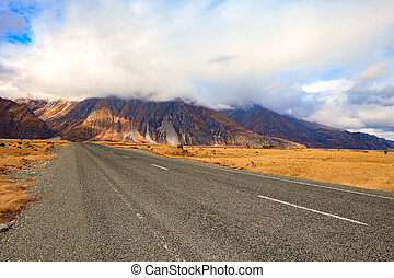 beautiful land scape of asphalt highways perspective to sun...