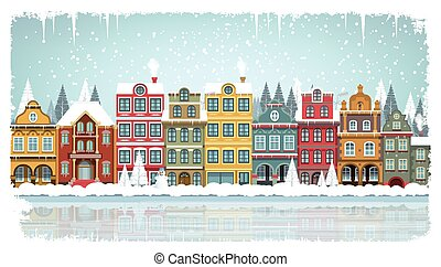 Old houses (Winter) - Vector illustration of old city in...