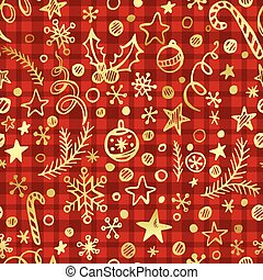 Cgristmas checkered seamless pattern with golden decoration. Vector illustration