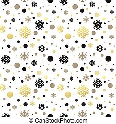 Seamless white christmas wallpaper with black and golden...