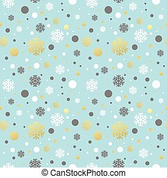 Christmas blue seamless pattern with golden, white and grey...
