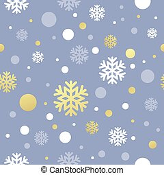 Christmas pink seamless pattern with golden, white snowflake...