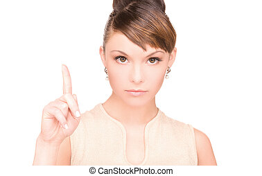 woman with her finger up - picture of attractive young woman...