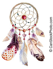 Watercolor dreamcatcher with beads and feathers....