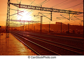 Santiago de Compostela sunrise at train railways end of...