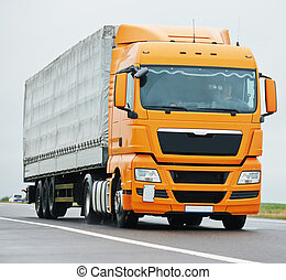 lorry truck on highway road - Lorry with trailer on highway...