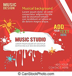 Red design music template with place for text.