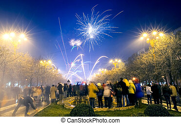 New Years Eve Fireworks Bucharest Romania - Moment Between...