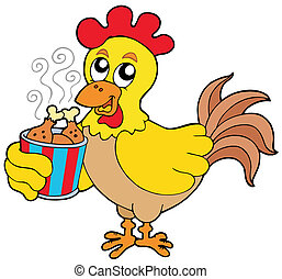 Cartoon chicken with meal box - vector illustration.
