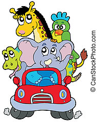 African animals in red car - vector illustration.